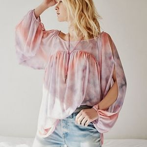 Free People Pink Cotton Candy Tie Dye Tunic Top